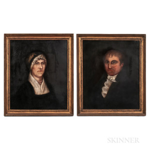 Attributed to Frederick Mayhew (Massachusetts, 1785-1854)      Pair of Portraits, a Husband and Wife