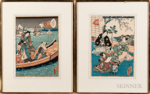 Utagawa Kunisada II (1823-1880), Two Woodblock Prints