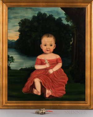 American School, 19th Century      Portrait of a Child in a Red Dress Holding a Silver Rattle