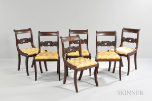 Set of Six Classical Carved Mahogany Chairs