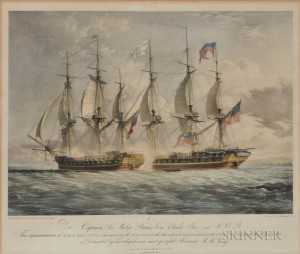 Four Framed Naval Battle Lithographs After J.C. Schetky and King
