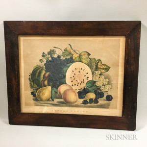 Framed Currier & Ives Lithograph Autumn Fruits