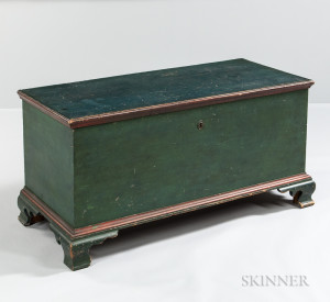 Blue/green- and Salmon-painted Walnut Blanket Chest