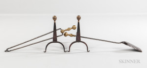 Pair of Small Brass and Iron Belted Ball-top Andirons and Two Ball-top Tools