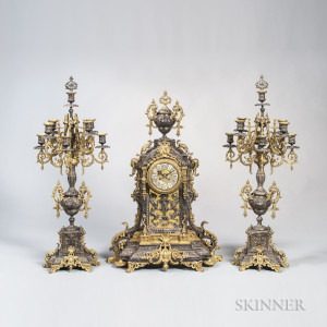 Three-piece Bronze and Silver Plate Clock Garniture