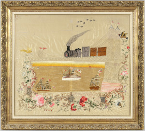 Large Needlework Picture with Train Crossing a Bridge