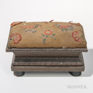 Upholstered and Embroidered Classical Painted Stool