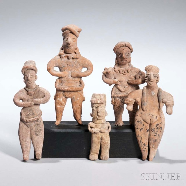 Five Nayarit Female Figures, c. 100 B.C.-250 A.D., all standing, one holding a puppy, ht. to 6 in.