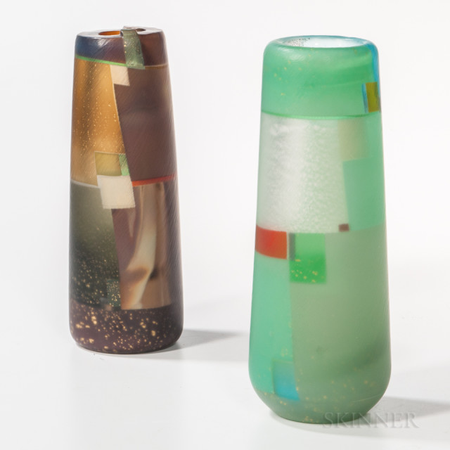 Takeshi Sano Morning Haze in the Highlands and Untitled Art Glass Vases, Japan, 2007, blown glass, both signed, ht. 12 1/2 to 13 1/4 in.