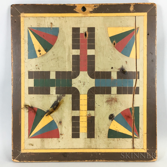 Polychrome Pine Parcheesi Board, ht. 24, wd. 22 in.