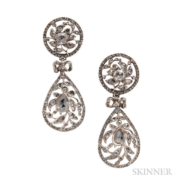 Silver and Rose-cut Diamond Earrings, composed of antique elements, set with foil-back pear- and circular rose-cut diamonds, lg. 2 1/2 in.