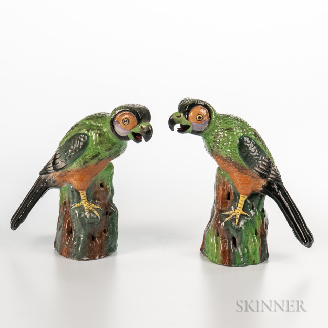 Pair of Famille Verte Parrots, China, each standing on rockery, ht. to 7 3/4 in.