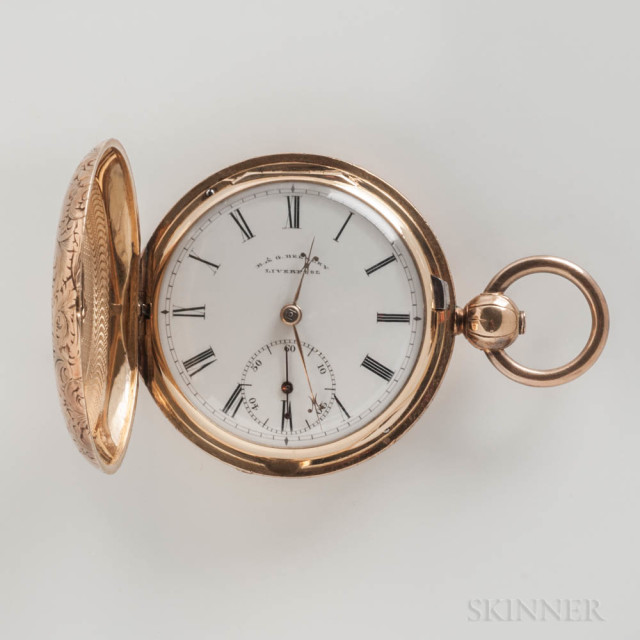 18kt Gold Liverpool Hunter-case Pocket Watch, R. & G. Beesley, no. 23382, fully decorated case with engine-turned interior with a shield reading