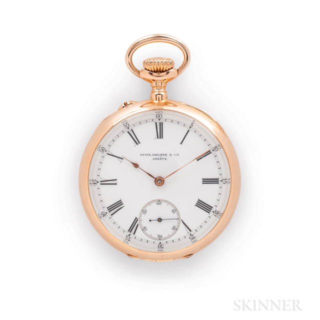 18kt Gold Patek Philippe & Co. Open-face Watch and Box, no. 93234, enameled roman numeral dial with arabic outer minute track, sunk seconds, gold hands, stem-wind, pin-set movement marked with