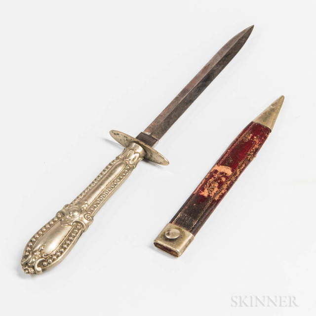 Small Sheffield Knife and Sheath, c. 1850s-60s, German silver hilt and guard, blade marked on the ricasso