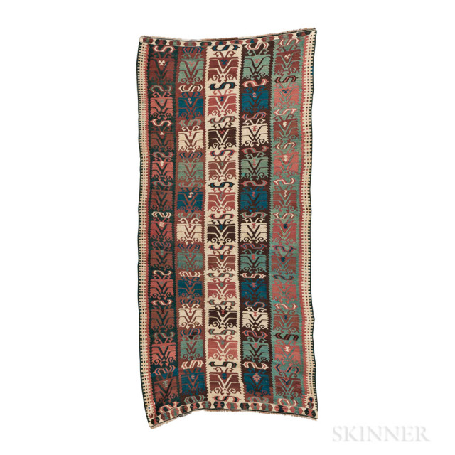 Kurdish Kilim, eastern Turkey, c. 1870, 9 ft. 10 in. x 4 ft. 5 in.    Provenance:  The Peter Davies Collection.