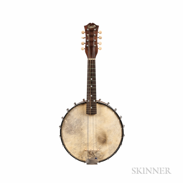 Bacon Peerless Banjo Mandolin, c. 1925, serial no. 11237, the dowel stick stamped -THE BACON PEERLESS-/MADE BY/THE BACON BANJO CO. INC./GROTON, CONN. U.S.A., the added Vega Little Wonder resonator,